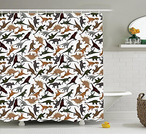 [Jurassic Decor Collection Pattern with Dinosaurs Enormous Museum History Cartoon Illustration Image Print Polyester Fabric Bathroom Shower Curtain Green Gray] (Fashion Costume Museum London)