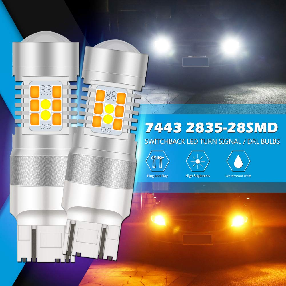 KaTur 3157 3155 3457 3057 Switchback LED Bulbs White//Amber High Power Extremely Bright 2835 Chipsets with Projector for Turn Signal Lights and Daytime Running Lights//DRL,with 50W 8ohm Load Resistors