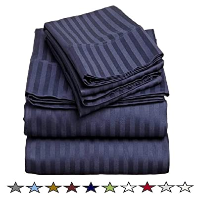 500 Thread Count 100% Cotton 4 Piece Bed Sheet Set - Soft and Breathable Sheets for Kids and Adults, Fits Upto 12 Inches Deep Pocket Mattress, Soft Cotton Sheets (Twin, Navy Blue Stripe): Home & Kitchen