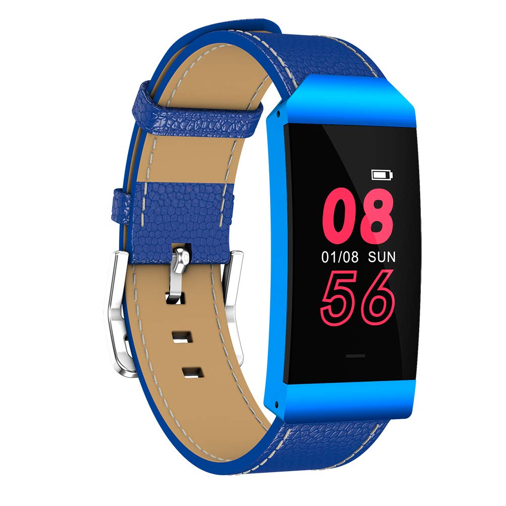 UKCOCO S7 Smart Wristband, Waterproof Fitness Tracker Colorful Smart Watch Leather Bracelet with Pedometer Heart Rate Monitor for Android and IOS (Blue)