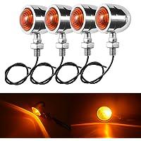 TUINCYN Zilveren Cover Motorfiets Mini Richtingaanwijzer Indicator Lampen Oogkleppen Licht Kogelvorm Voor / Achter Amber…