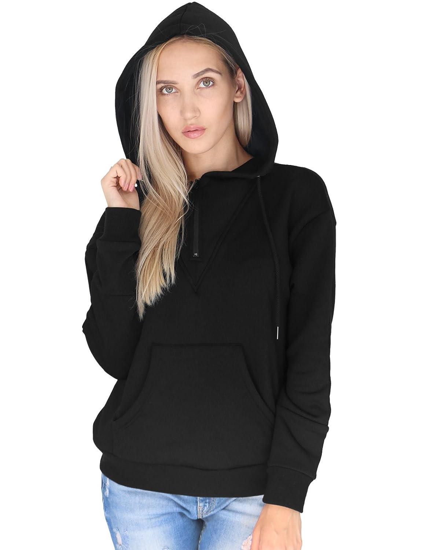 PRETTIGO Women's Hooded Sweatshirt Hoodie (Black, Red, Green, Orange)