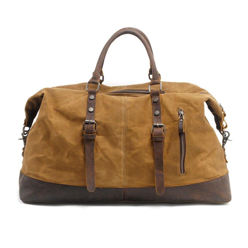 耐久性のある 大容量メンズハンドバッグトラベルバッグ防水油ワックスキャンバスクロスボディバッグ荷物 (色 : 褐色) B07P98HZCV 褐色