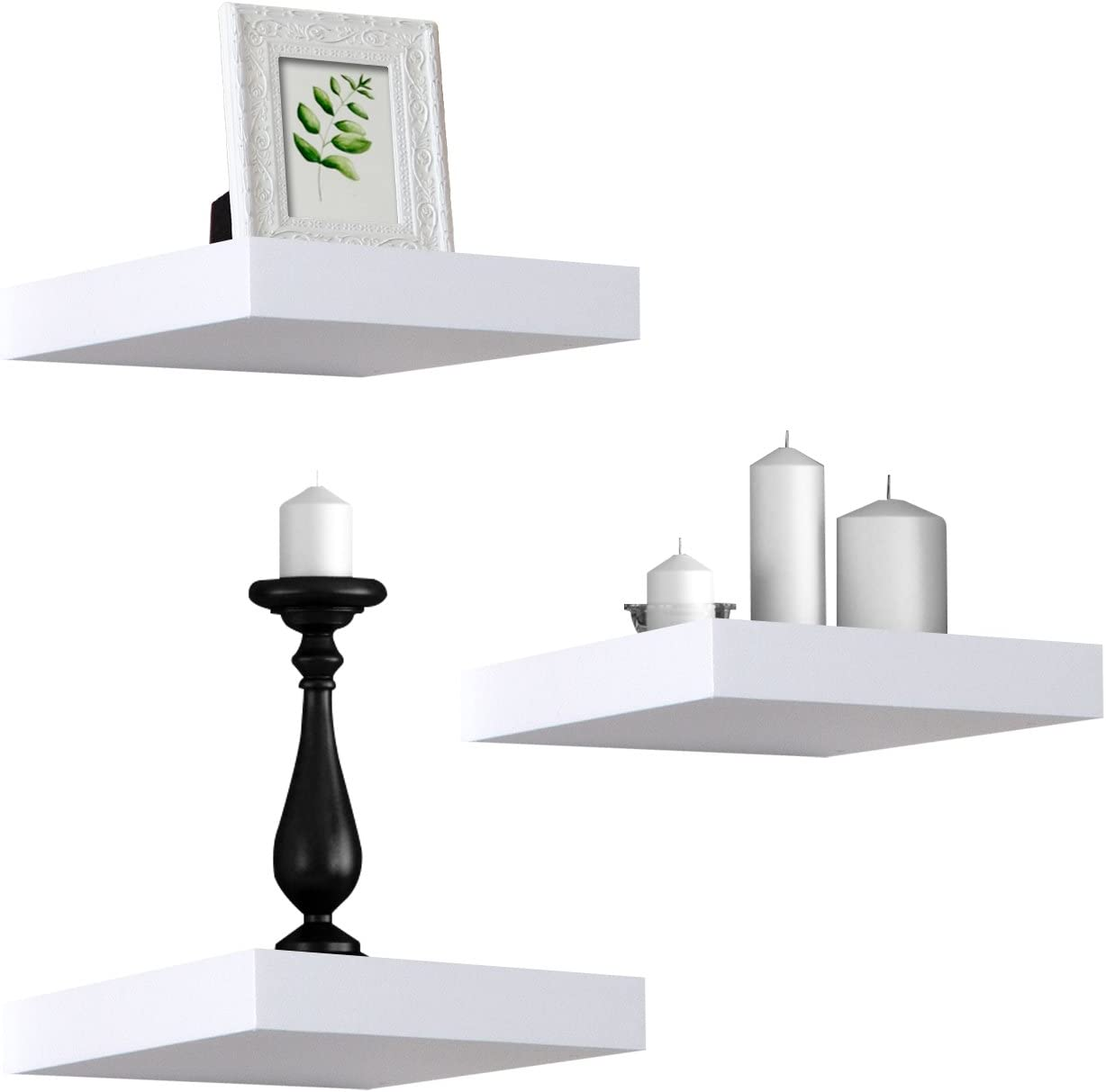 Sorbus Floating Shelves Hanging Wall Shelves Decoration Perfect Trophy Display, Photo Frames White