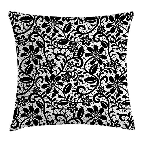 """Ambesonne Fractal Throw Pillow Cushion Cover, Ceramic Mosaic Style Baroque Floral Design with Minimalist Effects Artwork, Decorative Square Accent Pillow Case, 16"""" X 16"""", White Black"""