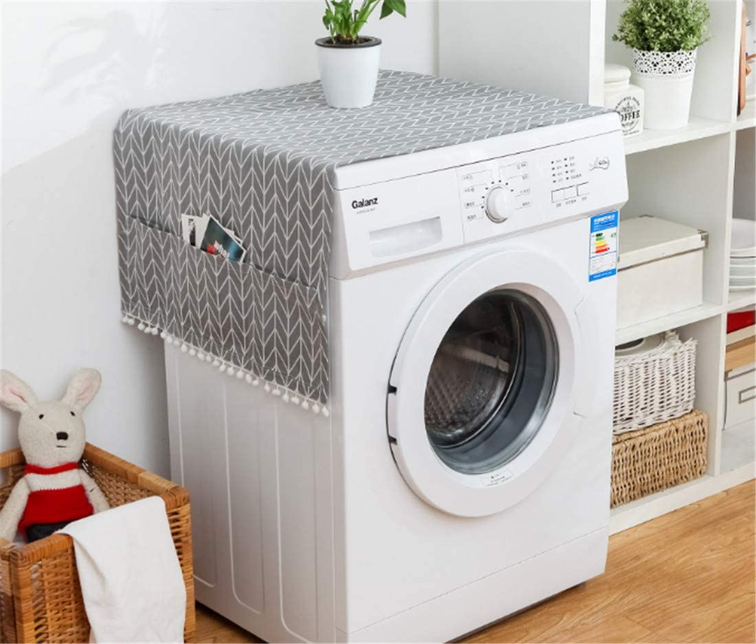 Amazon Com Mvchifay Washing Machine Cover Dustproof Cotton Fridge Cover Decorative Top Load Cover With Side Storage Pockets 54x23inches Gray Arrow Gray Arrow Kitchen Dining