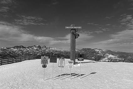8 x 12 black and white photo of mammoth mountain ski area mammoth lakes