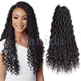 Curly Faux Locs Crochet Hair Deep Wave Braiding Hair With Curly Ends Crochet Goddess Locs Synthetic Braids Hair Extensions (18''-3bundles, 1B)