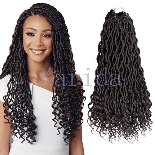 Curly Faux Locs Crochet Hair Deep Wave Braiding Hair With Curly Ends Crochet Goddess Locs Synthetic Braids Hair Extensions (18''-3bundles, 1B) by Karida