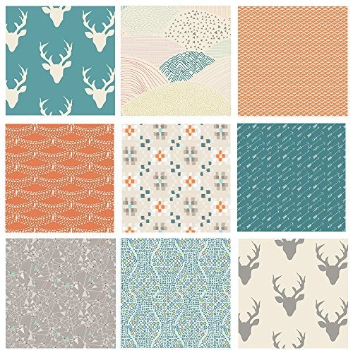 Southwestern Quilt Fabrics | Hello Bear Fabric Bundle | Teal Peach Gray Fabrics | Deer Silo Fabrics | Western Theme Fabrics | Modern Quilt Fabric | Cultivate Indian Summer | Art Gallery (Fat Quarters) ()