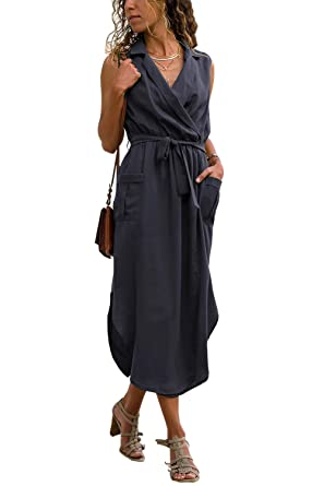 6067e0aa7430fb Designer97 Womens Casual Sleeveless Self-tie Sash Tall Waist Shirt Long  Dress with Pockets at Amazon Women s Clothing store