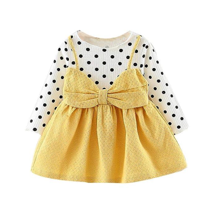 0 a 24 Meses Bebe Niña Vestido de Manga Larga de Lunares con Lazo para Vestidos de Princesa de Bebé Ropa Otoño Invierno: Amazon.es: Ropa y accesorios