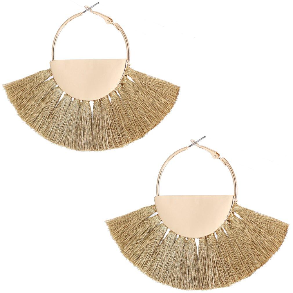 VK Accessories Semicircle Fan Shape Tassel Earrings Hoop Dangle Ear Drop Soriee for Women (gold)