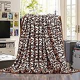 HOLY HOME Flannel Fleece Throw Blanket Velvet Plush Bedclothes Leopard Print 80''x90''