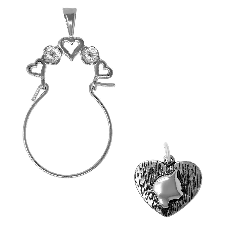 Raposa Elegance Sterling Silver Cat in Heart Charm on Optional Charm Holder