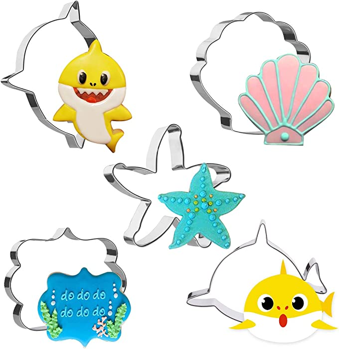 5 Pieces Baby Cookie Cutter Set Shark Starfish Seashell Shark Head and Plaques Shapes 4in Large Fondant Molds Cutters for Kids Birthday Party Making Muffins, Biscuits, Sandwiches, Etc.