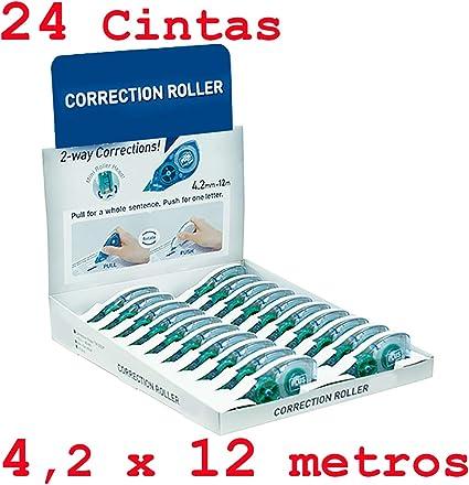 Corrector de Cinta Súper Económico Escolar Oficina con más metros del mercado Pack Ahorro de 24 Cintas 4.2 x 12mts 100% Ergonómico: Amazon.es: Oficina y papelería