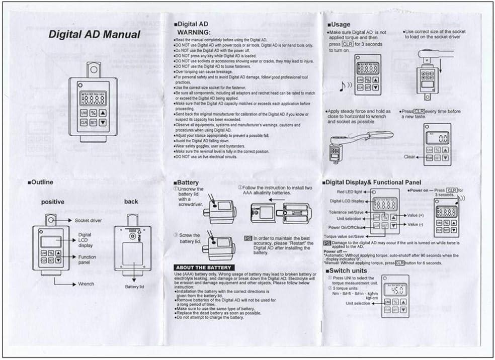 precauti Elektronische Digitalanzeige Drehmomentmesser Einstellbarer Drehmomentmesser Elektronischer Drehmomentschl/üssel f/ür Auto-Reparatur-Fahrrad