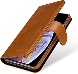 StilGut Talis Case con Tasca per Carte, Custodia in Pelle Cover per Apple iPhone XS. Chiusura a Libro Flip-Case in Vera Pelle Fatta a Mano, pratiche Tasche per Carte di Credito, Cognac