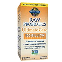 Probiotics for Women, Probiotics for Men and Adults - Raw Probiotics Ultimate Care 100 Billion CFU Shelf Stable Probiotic Supplement, Garden of Life Daily Probiotic, Digestive Enzymes, 30 Capsules