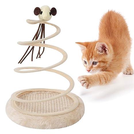 POPETPOP Mascota Gato Divertido Juguete Primavera ratón Placa sisal Gato árbol Palos Juguetes Subir Marco rascado