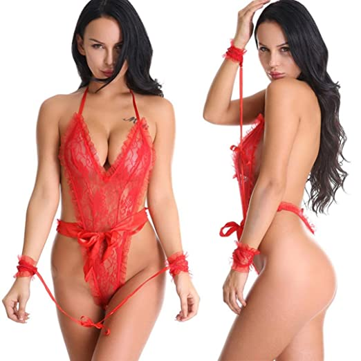 b76e42f170 Women s Backless Lingerie Sexy Fishnet Bodystocking Floral Lace Babydoll  Sleepwear Teddy Bodysuit (Red)