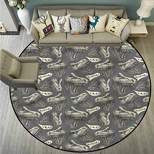Living Room Round Mat,Jurassic,Tyrannosaurus Cartoon,Anti-Slip Doormat Footpad Machine Washable,3'7