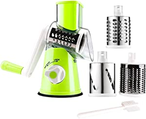 Manual Rotary Cheese Grater Parmesan Cheese Shredder for Food Vegetable Potato Carrot Nuts Grind with Cleaning Brush(green)