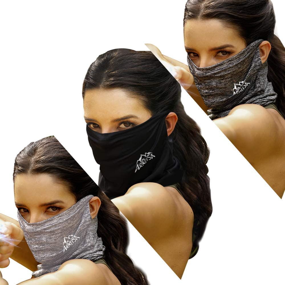 ARRUSA Summer Cool Face Cover, Neck Gaiter Dust&UV-Protection Bandanas Breathable Scarf for Women&Men Outdoor Sports (Grey+Sliver+Black) at  Women's Clothing store