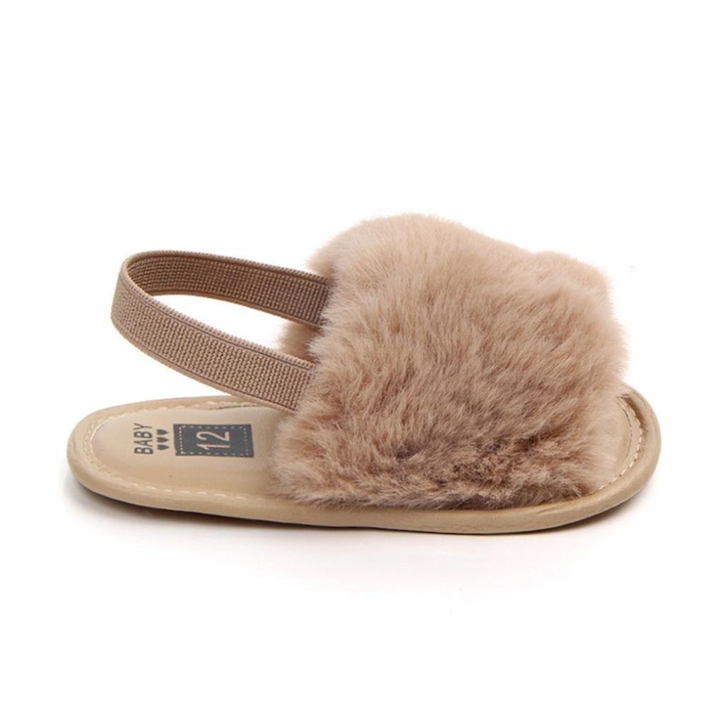 Voberry@ Baby Girl Flock Fur Soft Slide Slip On Flat Sandal Slipper Casual Infant Crib Shoes