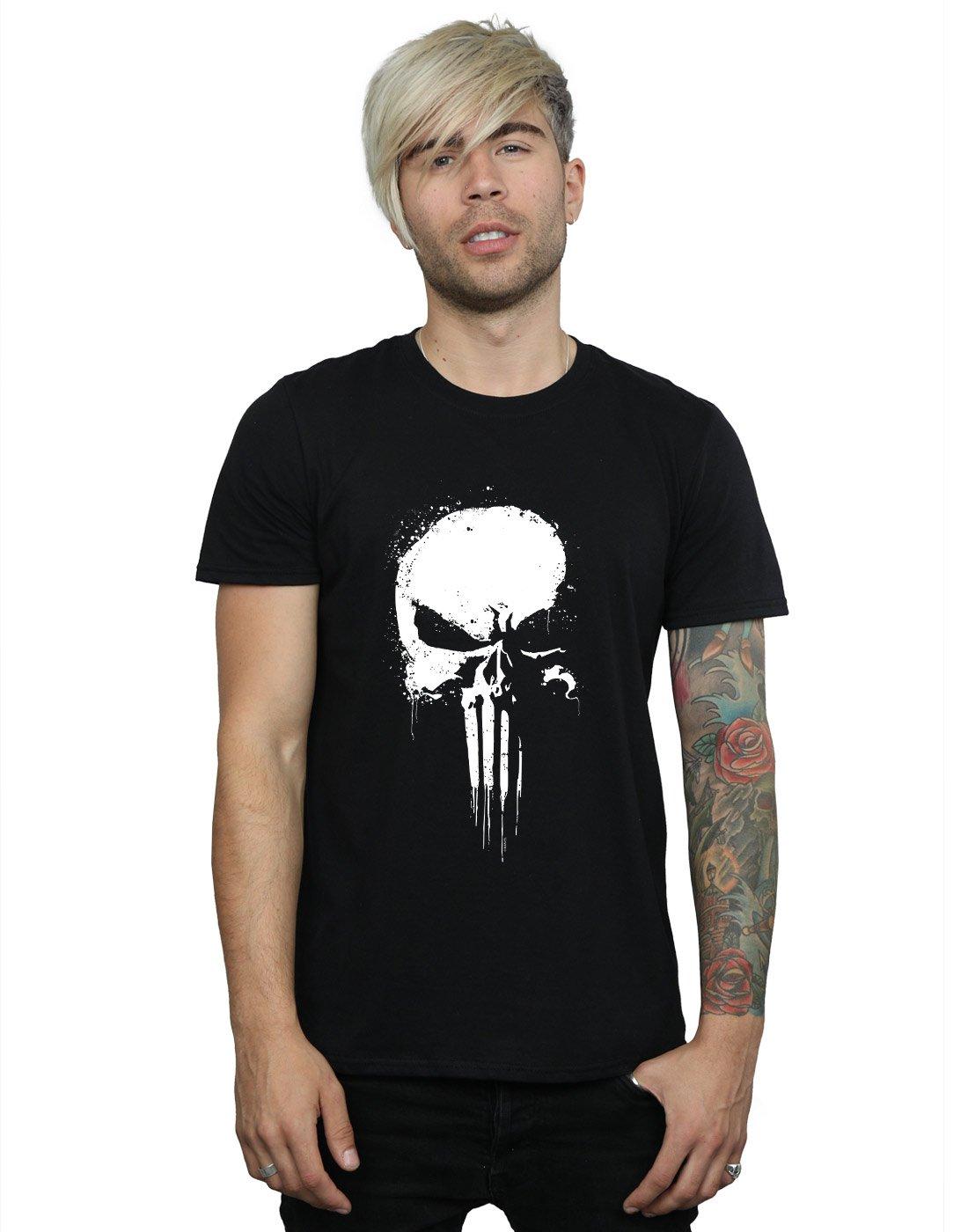 Marvel Herren Punisher Spray Skull T-Shirt Absolute Cult