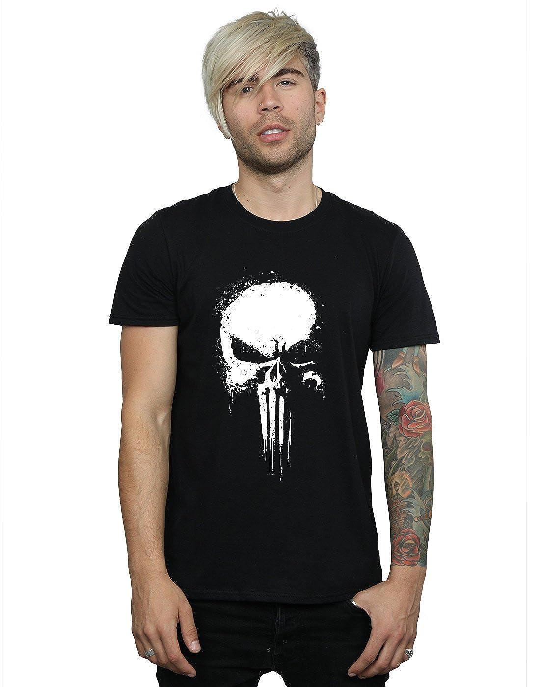 057c9ba0 Amazon.com: Marvel Men's Punisher Spray Skull T-Shirt: Clothing