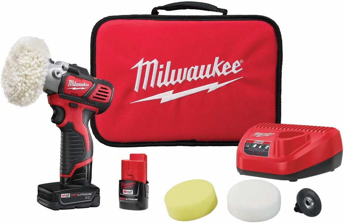 Milwaukee Polisher Set M18 Fuel 7 Inch Variable Speed Polisher Kit with Pads & M12 Variable Speed Polisher/Sander Kit with Accessory Kit