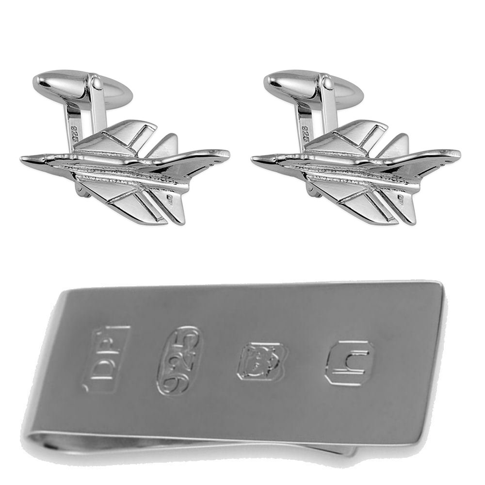 純銀製のジェット戦闘機のカフスボタン、ジェームズボンドのお金クリップボックスセット B074RZB9CG