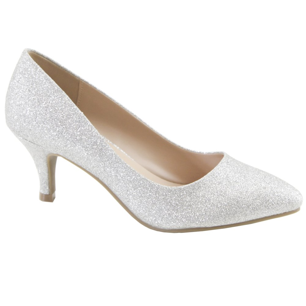 Womens Classic Dress Closed Pointed Toe Low Mid Kitten Heel Pumps