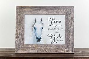 Summer Snow Live Like Someone Left The Gate Open Western Horse White Restored Framed Art (Driftwood Frame)