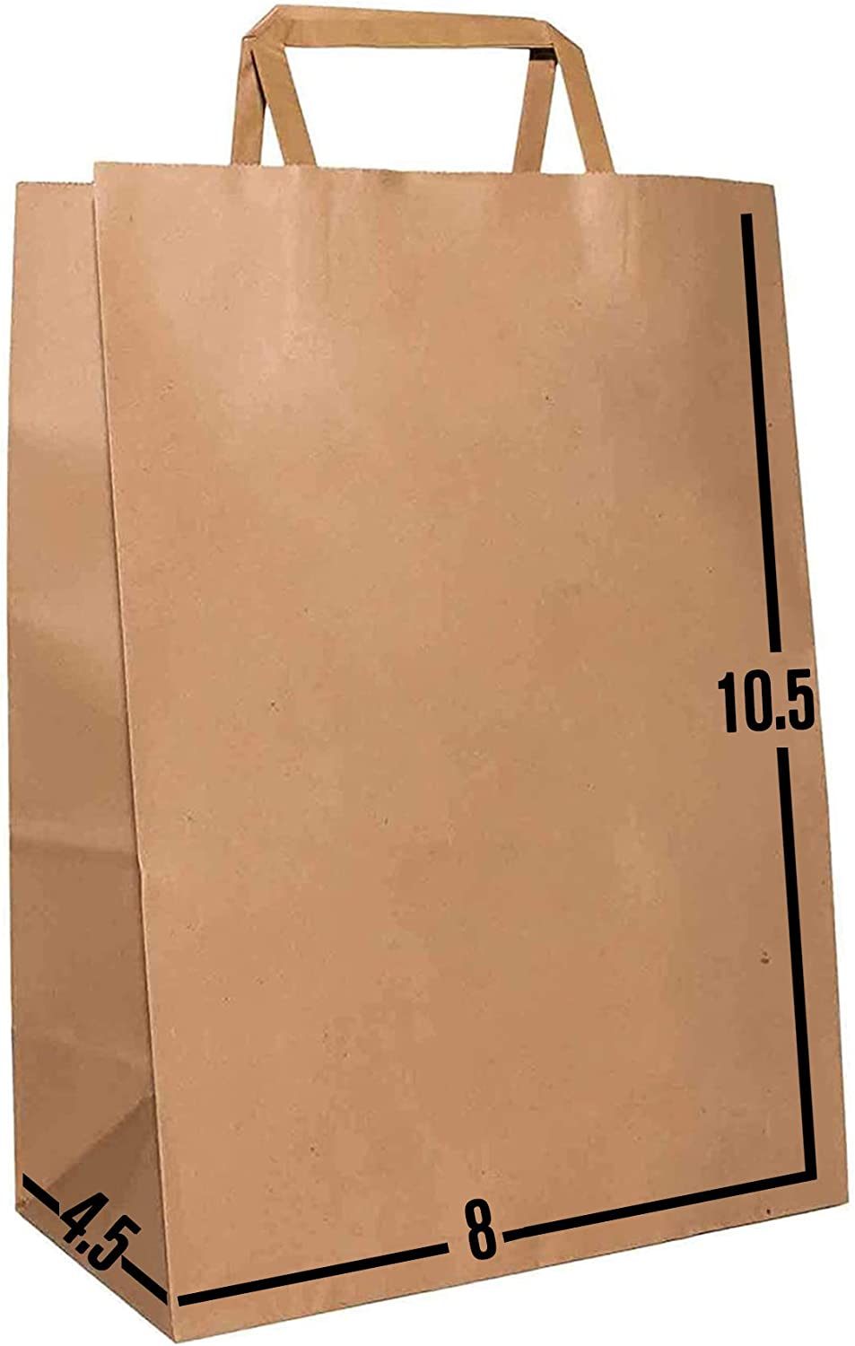 [100 Pcs. 8 X 4.5 X 10.5]- Kraft Paper Gift Bags Bulk with Flat Handles. Ideal for Shopping, Packaging, Retail, Party, Craft, Gifts, Wedding, Recycled, Business, Goody and Merchandise Bag (Brown)