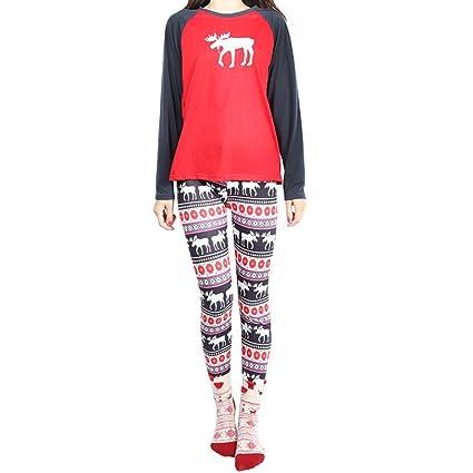 DANDANJIE Pijamas de Navidad Conjuntos de Reno Traje de Manga Larga para Mujeres Ropa de Dormir