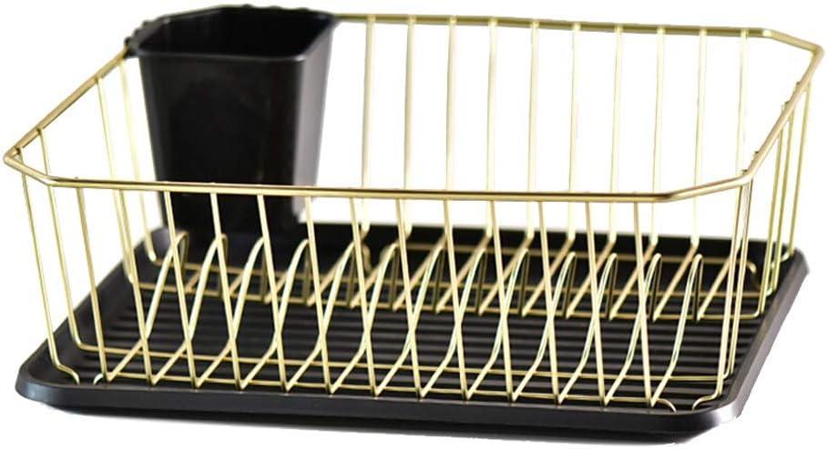 Caja de Madera tazón de Hierro de Drenaje Placa de Almacenamiento de Cocina Estante de Drenaje Estante Estante Filtro de desagüe tazón palillo (Color : Gold)
