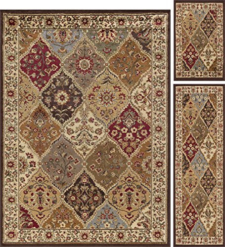 (Universal Rugs 105120 Multi 3 Pc. Set 5-Feet by 7-Feet, 20-Inch by 60-Inch and 20-Inch by 32-Inch Area Rug, 3-Piece)