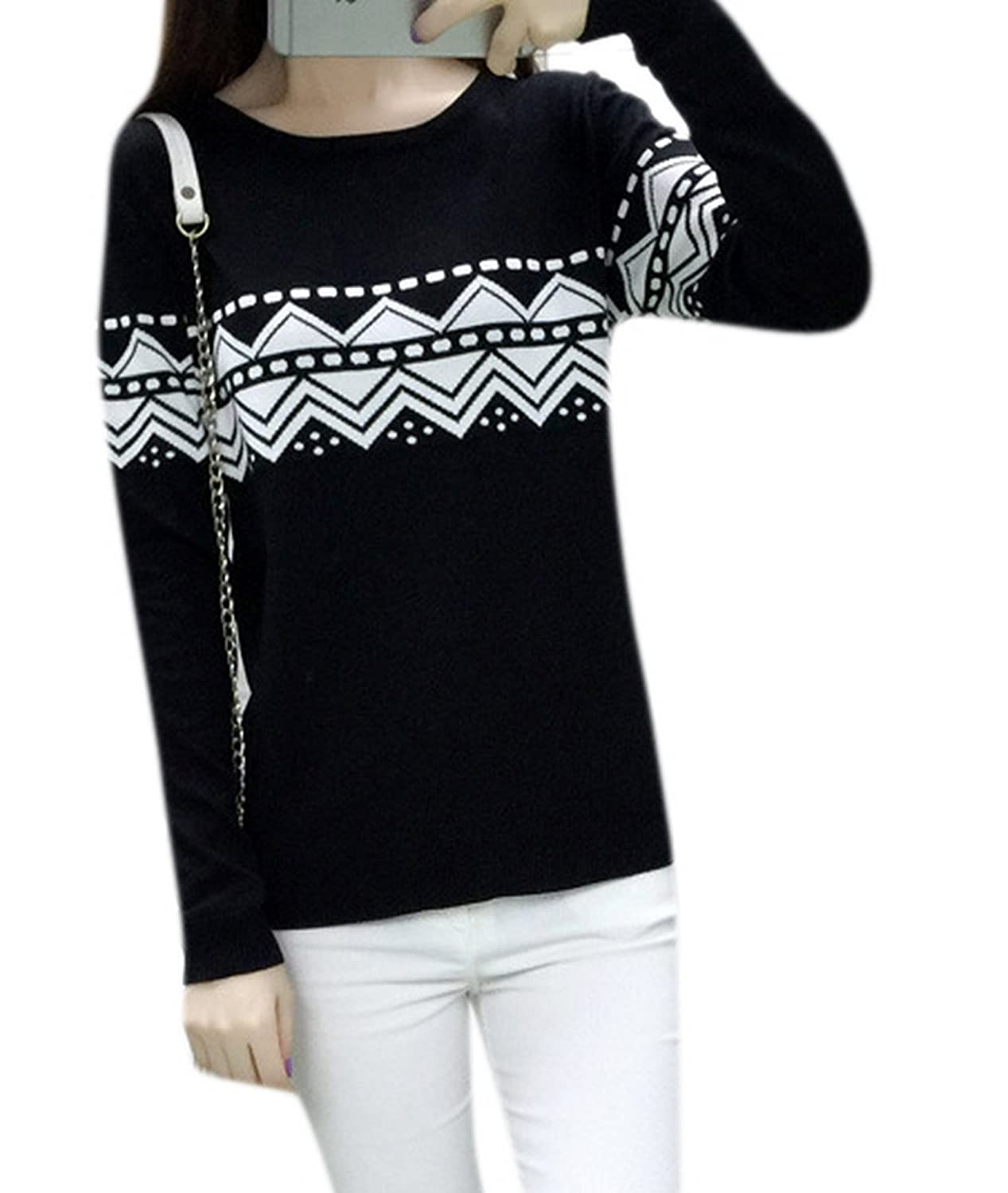 Lingswallow Women's Casual Crewneck Loose Long Sleeve Pullover Sweater Top