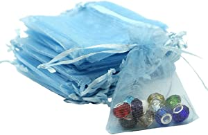 Organza Bags 100pcs 4 x 6 Inch Gift Bags Organza Drawstring Pouch Jewelry Party Wedding Favor Party Festival Gift Bags Candy Bags (Blue)
