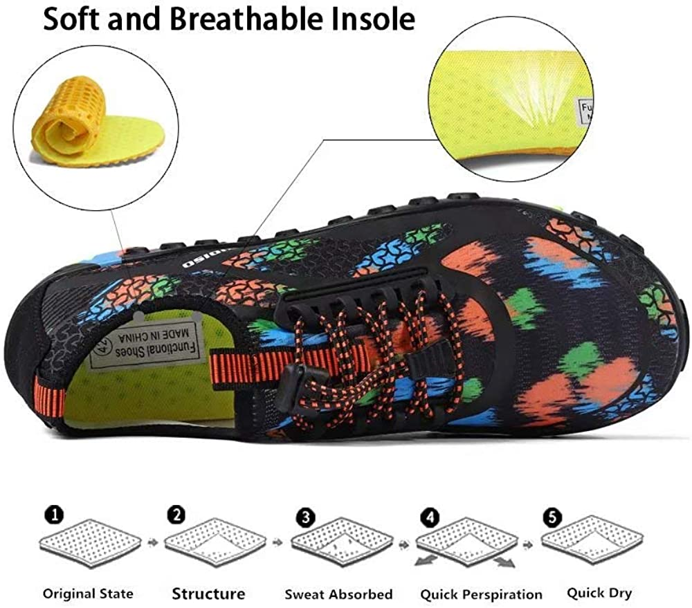 XIDISO Herren Damen Badeschuhe Wasserschuhe Aquaschuhe Schnelltrocknende Leichte Barfu/ßschuhe Strandschuhe