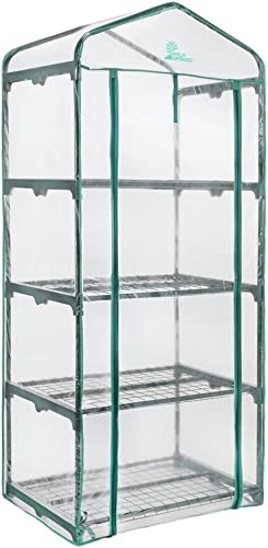 Palm Springs 4 -Tier Mini Greenhouse with Cover and Roll-up Zipper Door