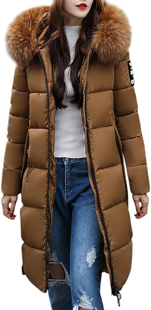 Chaqueta Largas Abrigo de Plumas Invierno Parka con Capucha para Mujer