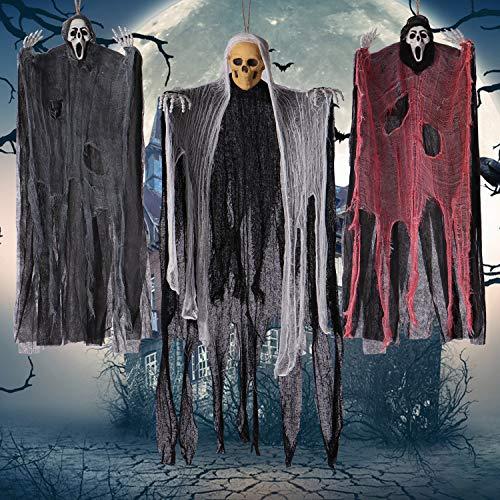 UFUNGA 3 Pack Halloween Hanging Skeleton Ghost Decorations- Grim Reapers for Best Halloween Decorations - Indoor and Outdoor Decor