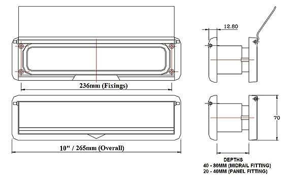 HomesSecure grosor: 2,45 cm, policloruro de vinilo no plastificado, 20-40 mm plateado Buz/ón para puerta