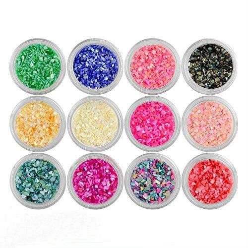 QIMYAR Nail Art 3d Nail Art Decorations Sparkle Powder Crushed Sea Shell Glitter Tips (12 colors)
