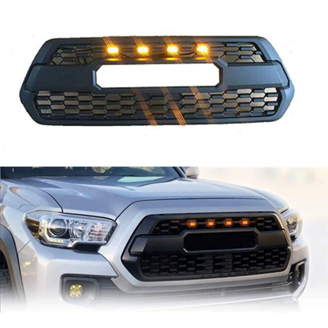 TIKSCIENCE 4pcs Grill Lights Amber LED Fits for Toyota Tacoma TRD PRO Grille 2016 2017 2018,with The Wiring Harness