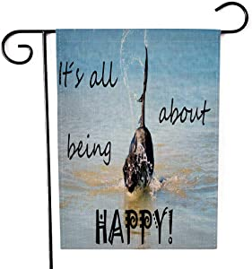 EMMTEEY Chrsitmas Garden Flag Double Sided Burlap Decoration 12.5X18 Inch for Yard Outdoor Decor Garden Flag Black Flat Coated Retriever Dog Playing Swimming in The Ocean Water Sea English Life Quote